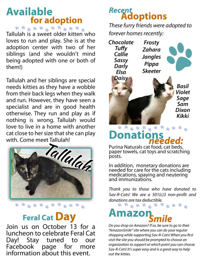 October 2016 Sav-R-Cats Newsletter
