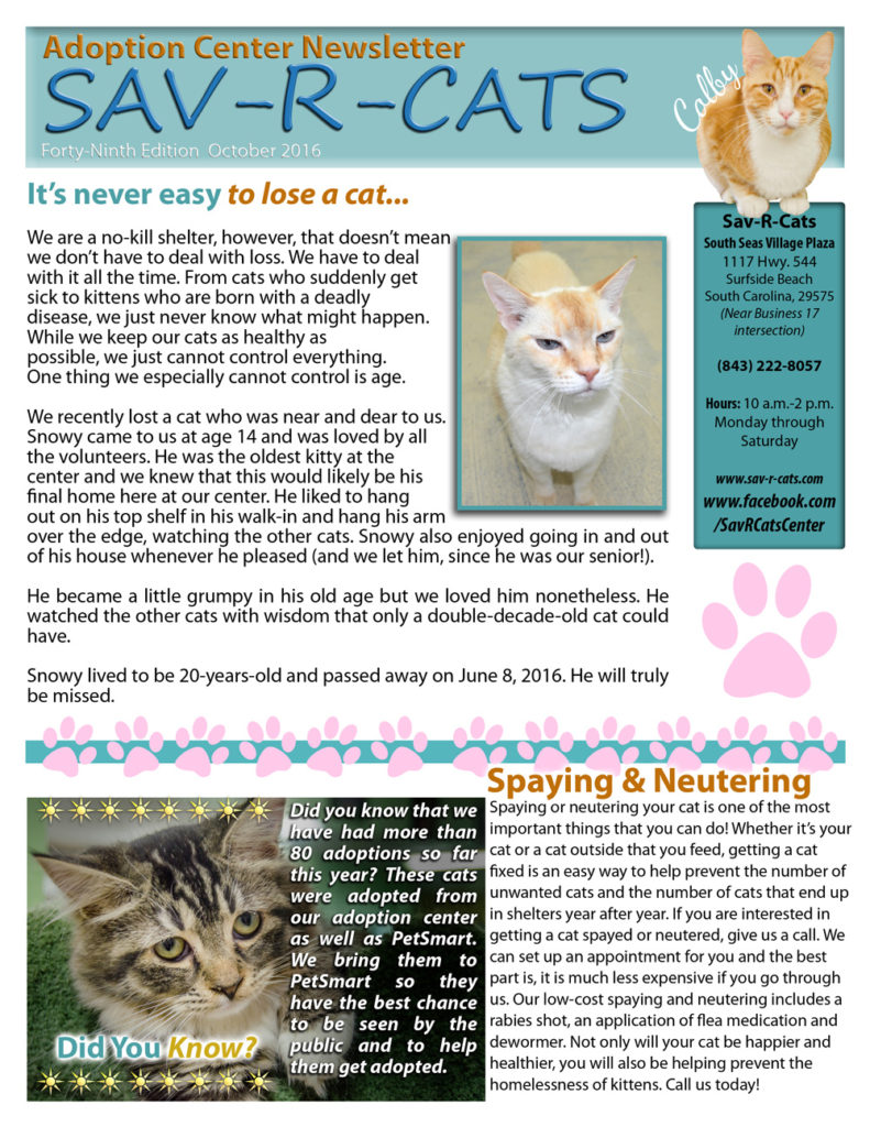 Sav-R-Cats Newsletter